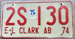 Clark AB Plates 1974-75